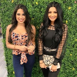 Black Grid mesh puff sleeve blouse